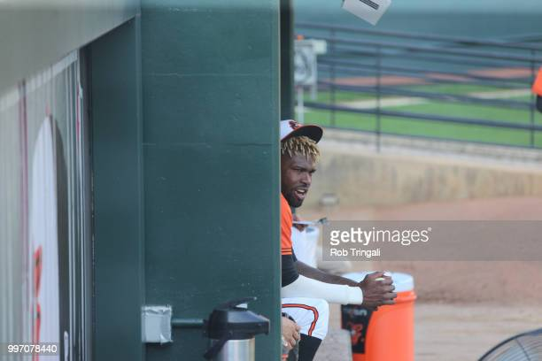 View of Baltimore Orioles Miguel Castro before game vs Los Angeles Angels at Oriole Park at Camden Yards Baltimore MD CREDIT Rob Tringali