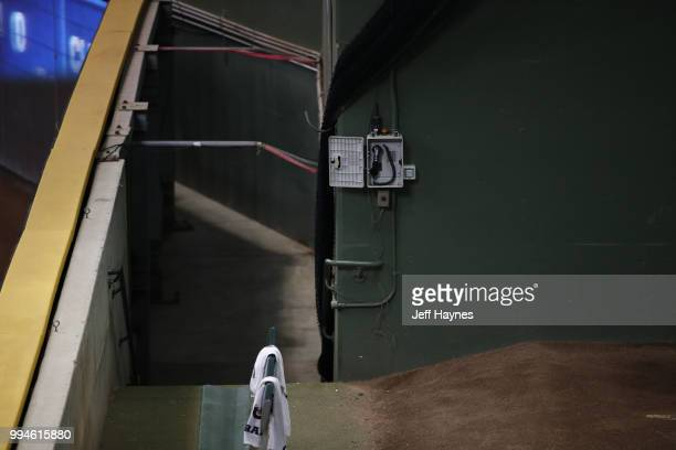 View of bullpen at Miller Park before game between Milwaukee Brewers and Kansas City Royals Milwaukee WI CREDIT Jeff Haynes