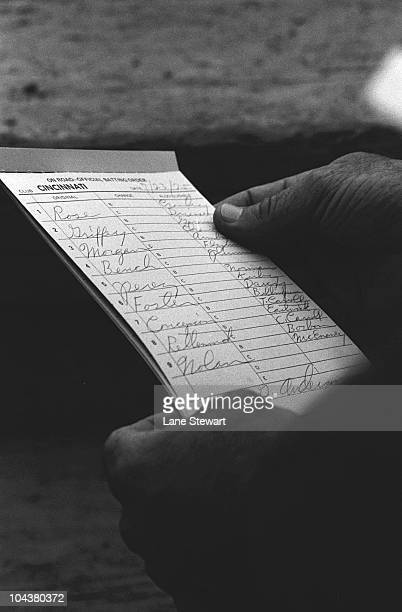 View of Cincinnati Reds lineup card for game vs New York Mets Flushing NY 7/23/1975 CREDIT Lane Stewart