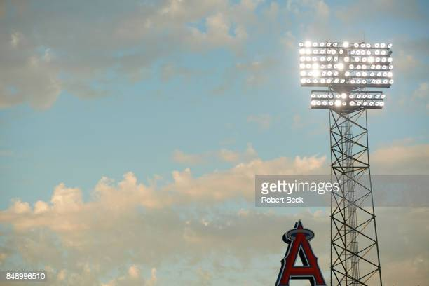 View of clouds lights and Angels logo during Los Angeles Angels of Anaheim vs Houston Astros game at Angel Stadium Anaheim CA CREDIT Robert Beck