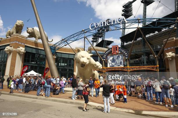 View of Detroit Tigers fans outside Comerica Park stadium before game vs Tampa Bay Rays Detroit MI 8/29/2009 CREDIT John Biever