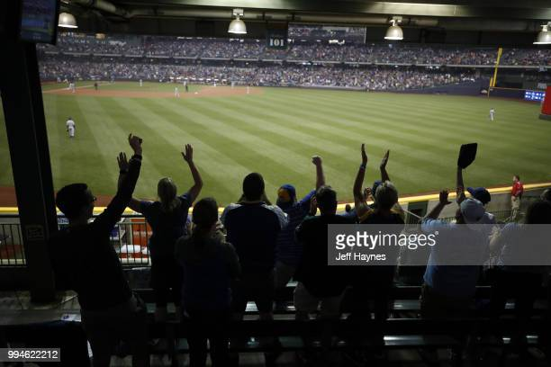 View of fans and field before game between Milwaukee Brewers and Kansas City Royals at Miller Park Milwaukee WI CREDIT Jeff Haynes