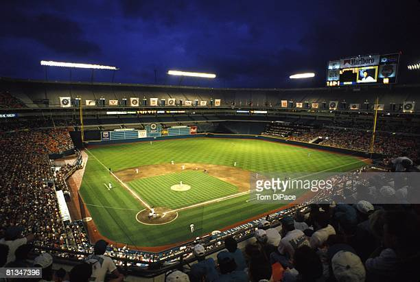 Baseball View of Florida Marlins in action vs Los Angeles Dodgers during inaugural game at Joe Robbie Stadium Miami FL 4/4/1993