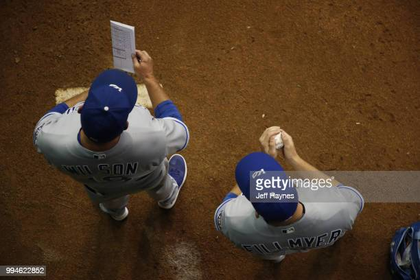 View of Kansas City Royals bullpen coach Vance Wilson and Heath Fillmyer in bullpen during game vs Milwaukee Brewers at Miller Park Milwaukee WI...