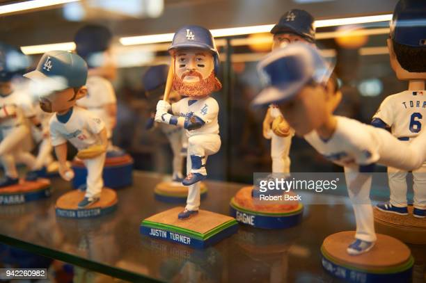 View of Los Angeles Dodgers Justin Turner bobblehead doll during game vs San Francisco Giants at Dodger Stadium Los Angeles CA CREDIT Robert Beck