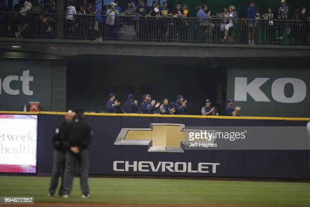 View of Milwaukee Brewers pitchers in bullpen before game vs Kansas City Royals at Miller Park Milwaukee WI CREDIT Jeff Haynes