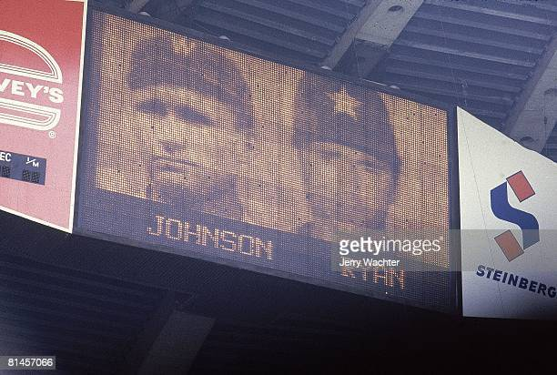 Baseball View of Olympic Stadium scoreboard showing Houston Astros Nolan Ryan after breaking Walter Johnson alltime strikeout record during game vs...