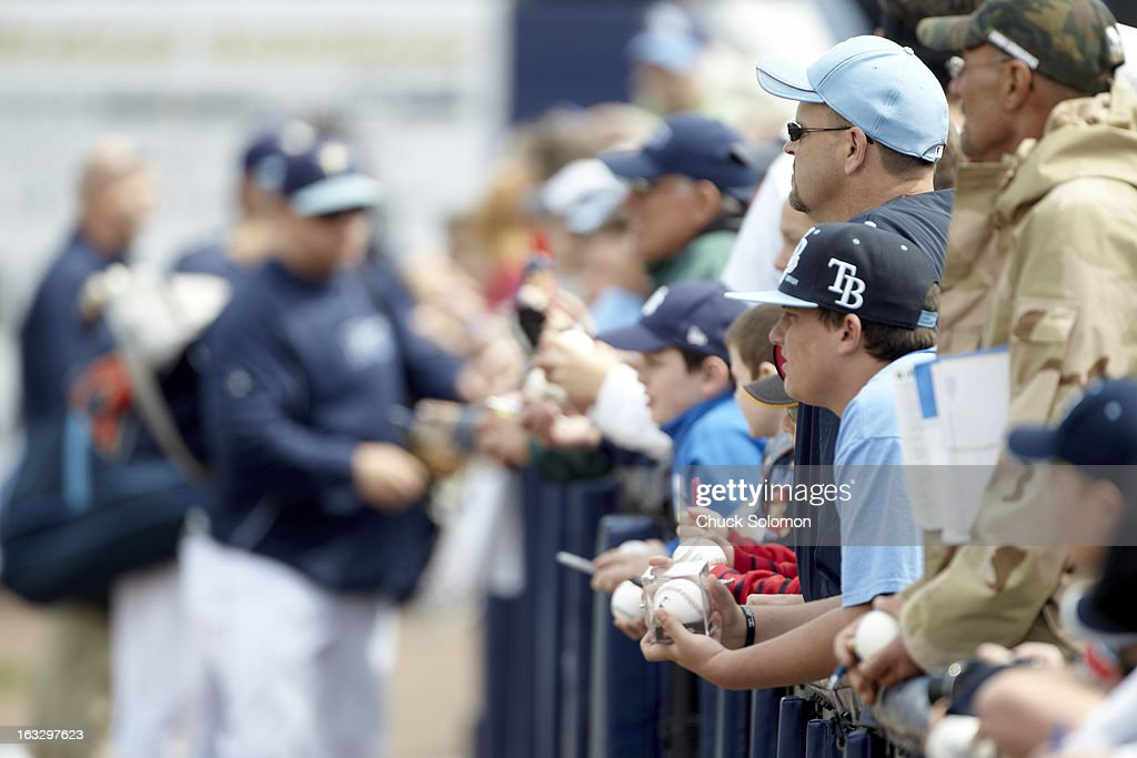 View of Tampa Bay Rays fans in stands waiting for autographs before game vs Baltimore Orioles at Charlotte Sports Park. Chuck Solomon F3 )