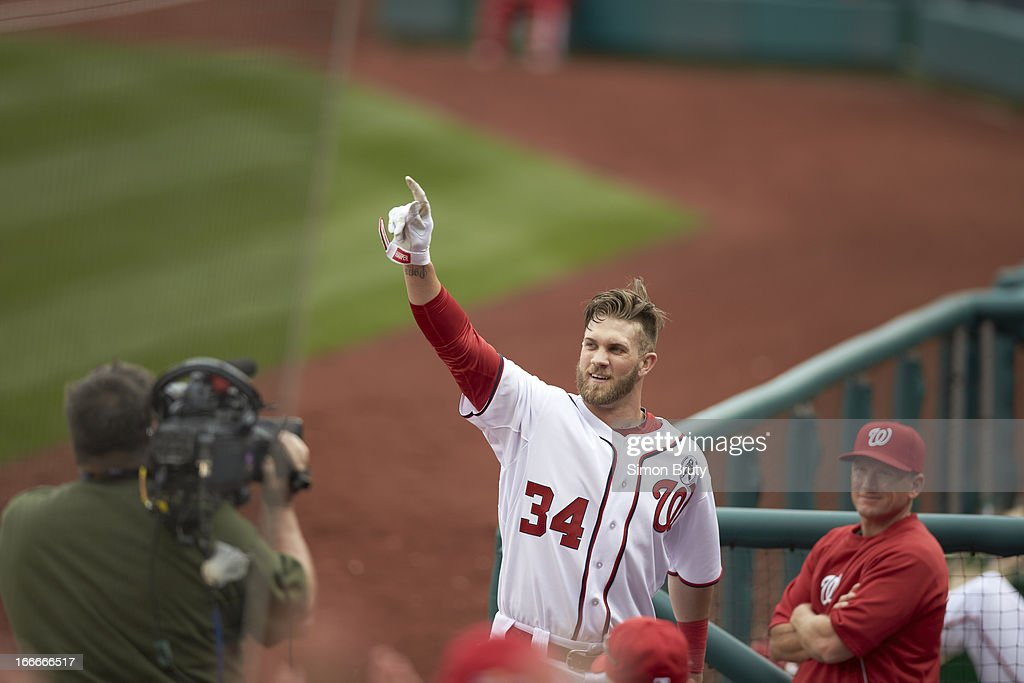 Washington Nationals Bryce Harper Stands For A Curtain Call After Hitting  Home Run Vs Miami Marlins