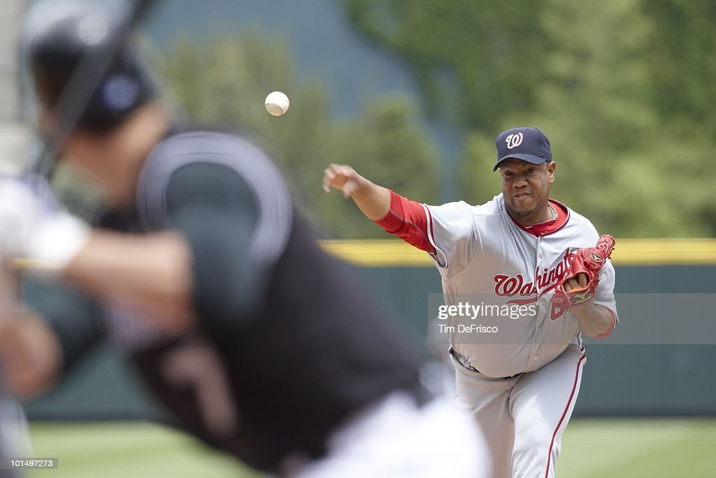 Washington Nationals Livan Hernandez (61) in action, pitching vs Colorado Rockies. Denver, CO 5/15/2010