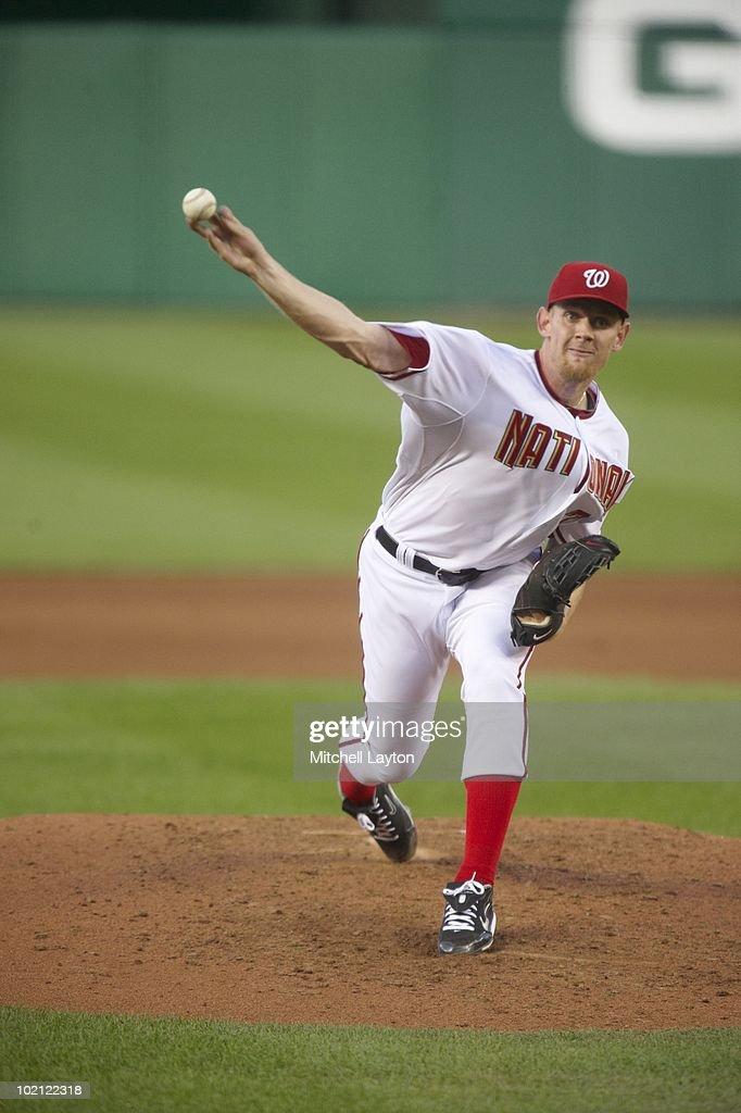 Washington Nationals Stephen Strasburg (37) in action, pitching vs Pittsburgh Pirates. Strasburg's first MLB game. Washington, DC 6/8/2010