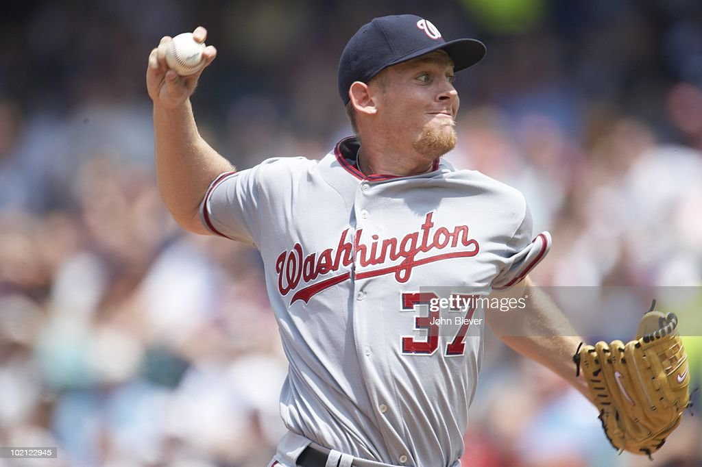 Washington Nationals Stephen Strasburg (37) in action, pitching vs Cleveland Indians. Cleveland, OH 6/13/2010