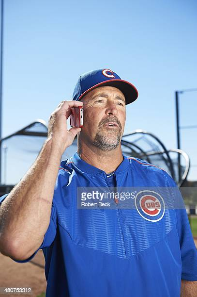 Where Are They Now Casual portrait of Iowa Cubs hitting coach and former MLB catcher Brian Harper posing with cell phone during photo shoot at Sloan...