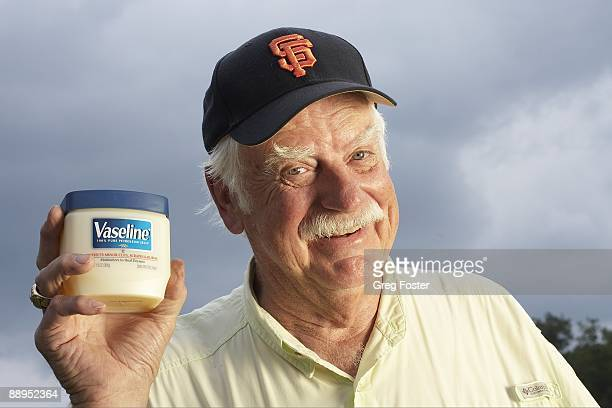 Where Are They Now: Closeup portrait of former MLB pitcher Gaylord Perry holding Vaseline. Spruce Pine, NC 6/8/2009 CREDIT: Greg Foster