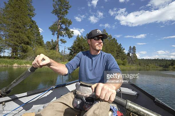 Where Are They Now: Portrait of former MLB pitcher Adam Bernero rowing a boat during photo shoot in the Upper Deschutes River. Bernero, who retired...