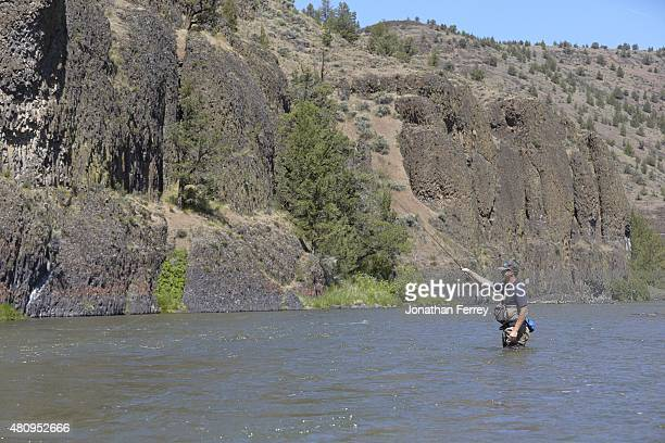 Where Are They Now: Scenic portrait of former MLB pitcher Adam Bernero fly fishing during photo shoot in the Upper Deschutes River. Bernero, who...