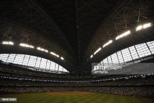 Wide view of field and stadium roof at Miller Park before game between Milwaukee Brewers and Kansas City Royals Milwaukee WI CREDIT Jeff Haynes