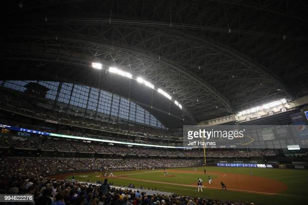 Wide view of field at Miller Park before game between Milwaukee Brewers and Kansas City Royals Milwaukee WI CREDIT Jeff Haynes