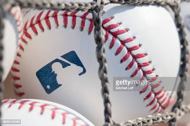 A baseball with MLB logo is seen at Citizens Bank Park before a game between the Washington Nationals and Philadelphia Phillies on June 28 2018 in...