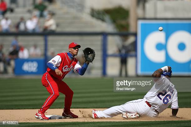 Baseball World Baseball Classic Cuba Yulieski Gourriel in action attempting tag vs Dominican Republic during semifinals San Diego CA 3/18/2006