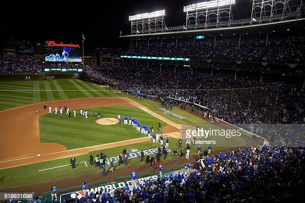 World Series Aerial view of Chicago Cubs players victorious on field after winning game vs Cleveland Indians Roberto Perez at Wrigley Field Game 5...