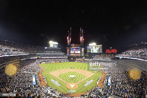 World Series Aerial view of Citi Field during anthem before New York Mets vs Kansas City Royals game Game 4 Flushing NY CREDIT Chuck Solomon