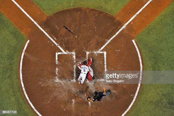World Series Aerial view of Tampa Bay Rays Rocco Baldelli in action home plate collision vs Philadelphia Phillies Carlos Ruiz during 2nd inning Out...