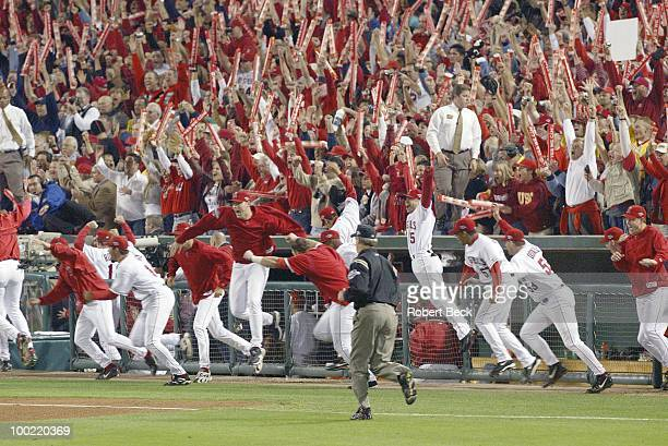 World Series Anaheim Angels John Lackey and teammates victorious after winning Game 7 and series vs San Francisco Giants Anaheim CA CREDIT Robert Beck