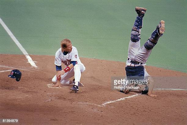 Baseball: World Series, Atlanta Braves Greg Olson in action after tagging out Minnesota Twins Dan Gladden , Minneapolis, MN
