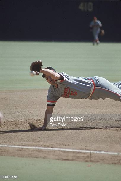 Baseball World Series Baltimore Orioles Brooks Robinson in action diving and fielding catch vs Pittsburgh Pirates Game 4 Pittsburgh PA