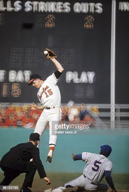 World Series Baltimore Orioles Davey Johnson in action vs New York Mets Ed Charles Game 2 Baltimore MD CREDIT Walter Iooss Jr