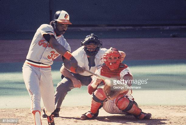 Baseball World Series Baltimore Orioles Eddie Murray in action at bat vs Philadephia Phillies Game 3 Philadephia PA