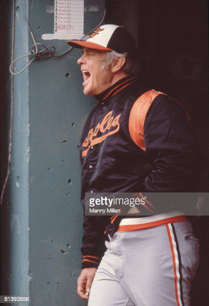 Baseball: World Series, Baltimore Orioles manager Earl Weaver in dugout during game vs Pittsburgh Pirates, Baltimore, MD