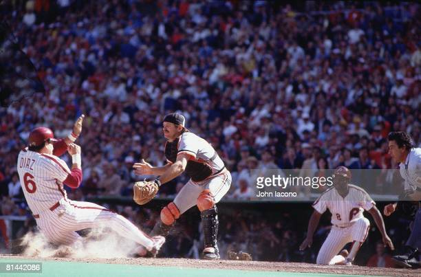 Baseball: World Series, Baltimore Orioles Rick Dempsey in action, tagging out Philadelphia Phillies Bo Diaz , Game 4, Philadelphia, PA