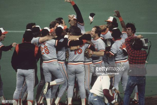Baseball World Series Baltimore Orioles victorious in huddle after winning Game 5 and series vs Philadelphia Phillies Philadelphia PA
