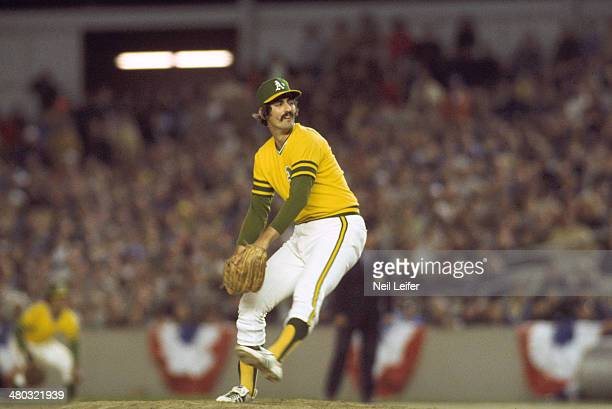 World Series Baseball World Series Oakland Athletics Rollie Fingers in action pitching vs New York Mets during bottom of 11th inning at Shea Stadium...