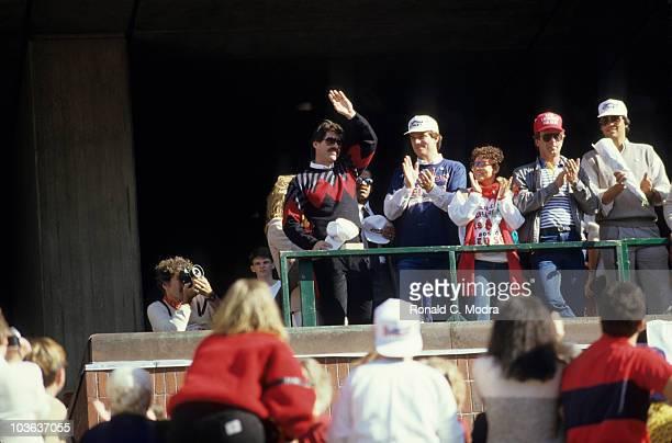 World Series Boston Red Sox Bill Buckner casual waving to crowd during rally at City Hall Plaza Boston MA CREDIT Ronald C Modra