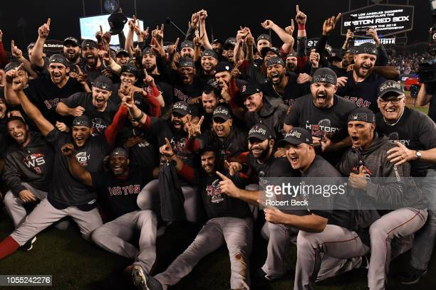 World Series Boston Red Sox players victorious on field after winning game and series vs Los Angeles Dodgers at Dodger Stadium Game 5 Los Angeles CA...