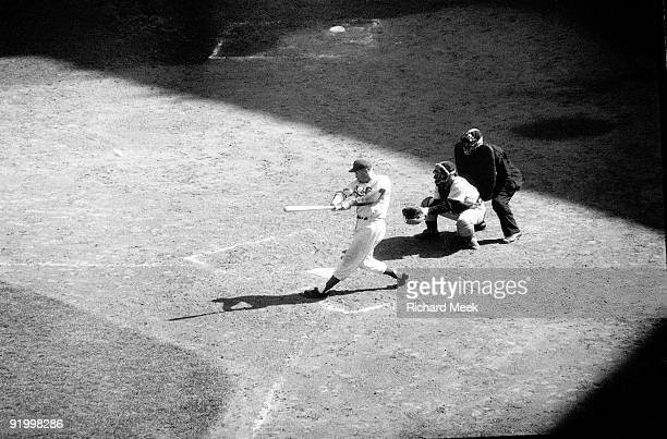 World Series Brooklyn Dodgers Duke Snider in action home run vs New York Yankees Game 2 Brooklyn NY 10/5/1956 CREDIT Richard Meek