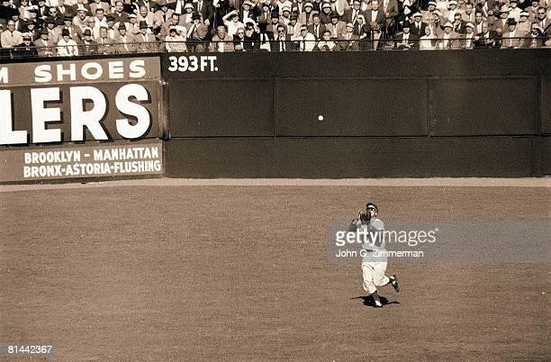 Baseball World Series Brooklyn Dodgers Duke Snider in action making catch vs New York Yankees Brooklyn NY 10/9/1956
