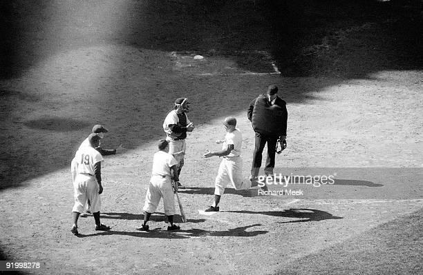 World Series Brooklyn Dodgers Duke Snider victorious after home run vs New York Yankees Game 2 Brooklyn NY 10/5/1956 CREDIT Richard Meek