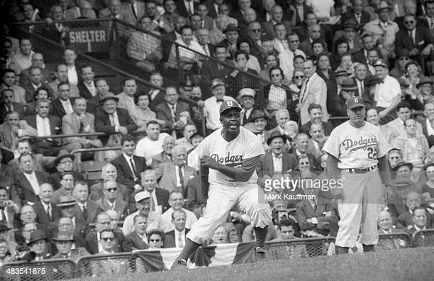 World Series Brooklyn Dodgers Jackie Robinson in action on base vs New York Yankees at Ebbets Field Game 3 Brooklyn NY CREDIT Mark Kauffman