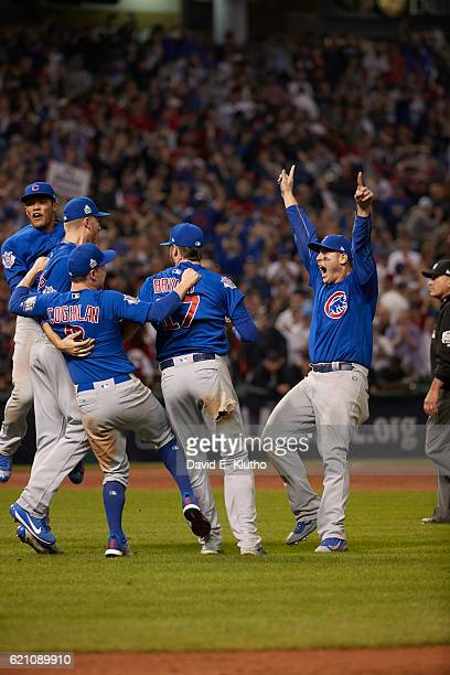 World Series Chicago Cubs Anthony Rizzo and teammates victorious on field after winning Game 7 in 10th inning to win championship series vs Cleveland...