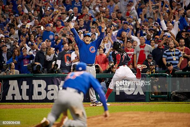 World Series Chicago Cubs Anthony Rizzo victorious on field after recording final out in 10th inning to win Game 7 and championship series vs...