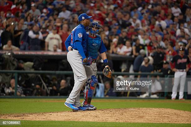 World Series Chicago Cubs Aroldis Chapman with Miguel Montero during game vs Cleveland Indians at Progressive Field Game 7 Cleveland OH CREDIT David...