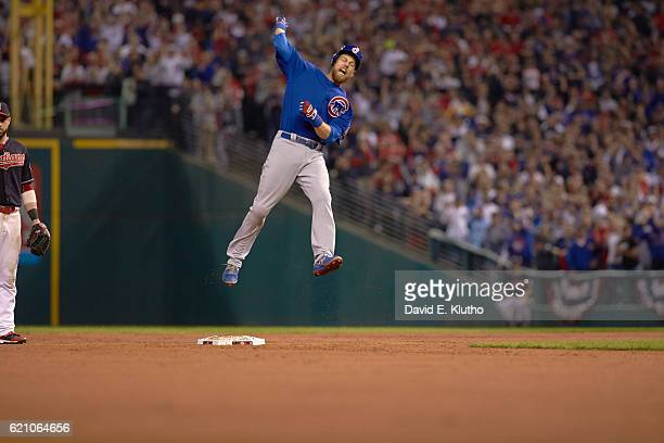 World Series Chicago Cubs Ben Zobrist victorious at second base after hitting RBI double in 10th inning of Game 7 vs Cleveland Indians at Progressive...