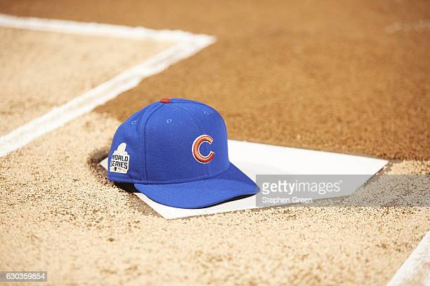 World Series Chicago Cubs cap on homeplate with World Series logo before game vs Cleveland Indians at Wrigley Field Game 4 Equipment Chicago IL...
