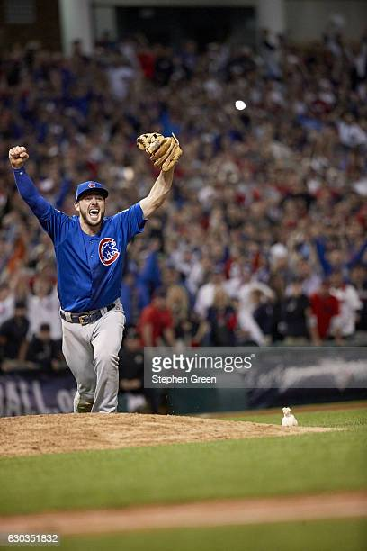 World Series Chicago Cubs Kris Bryant victorious after winning game and series vs Cleveland Indians at Progressive Field Game 7 Cleveland OH CREDIT...