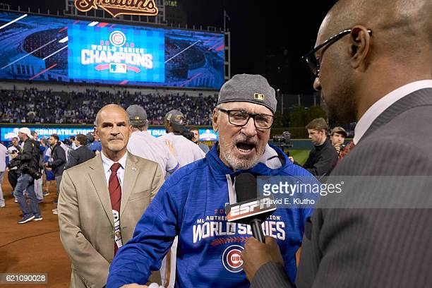 World Series Chicago Cubs manager Joe Maddon during interview on field after winning game and series vs Cleveland Indians at Progressive Field Game 7...