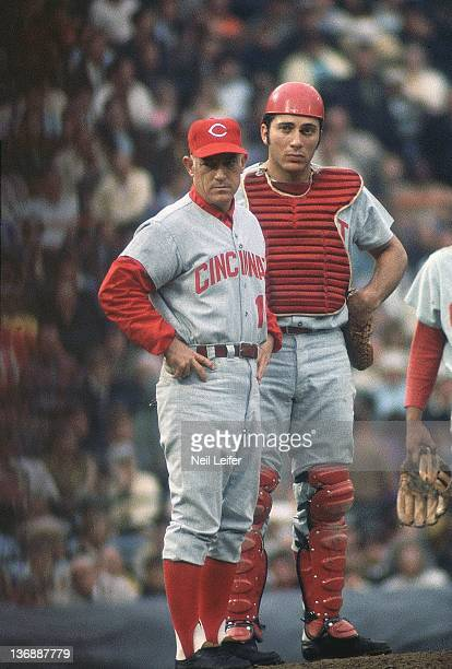 Baseball World Series Cincinnati Reds manager Sparky Anderson and Johnny Bench during Game 5 vs Baltimore Orioles at Memorial Stadium Baltimore MD...